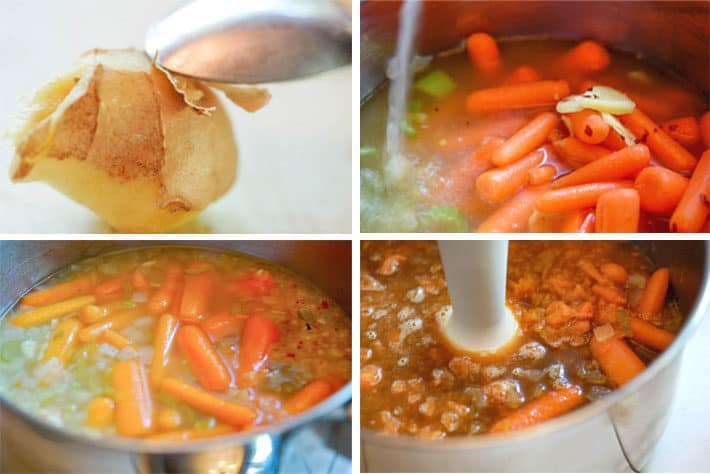 Grid photo demonstrating how to peel ginger with a spoon, simmering carrots for soup and blending with a stick blender.