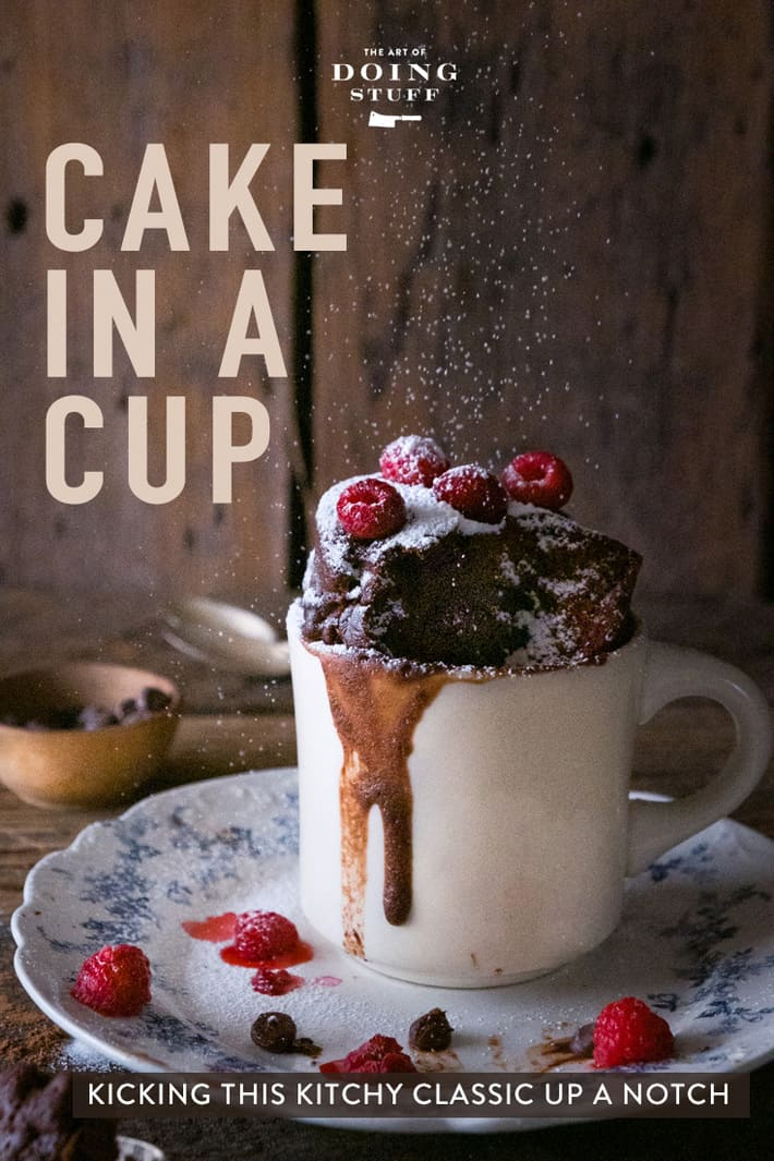 Two Minute Chocolate Mug Cake. A Fancy Cake in a Cup.