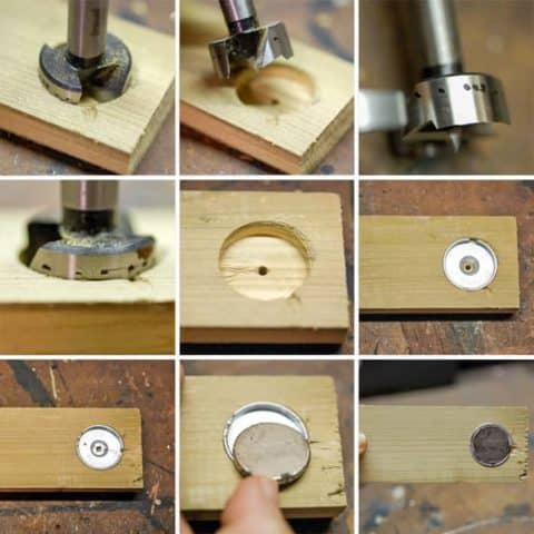 Photographic grid showing steps to installing rare earth magnets into wood for making a magnetic gate latch.