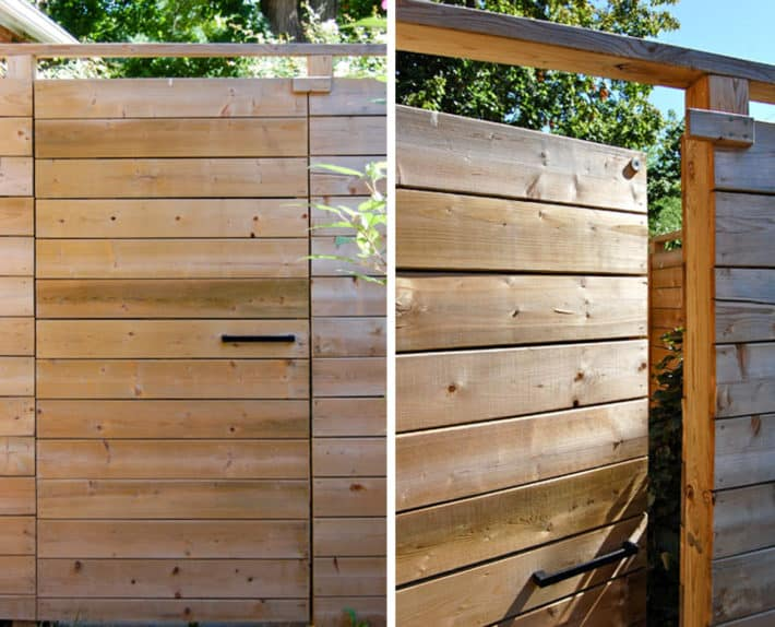 Modern fence with horizontal boards, a simple handle and magnetic latch.