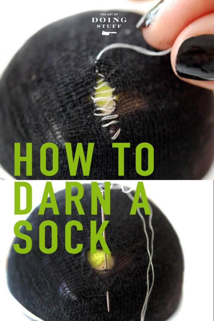 Favourite pair of socks?  Darn them with a needle, thread and 3 minutes.