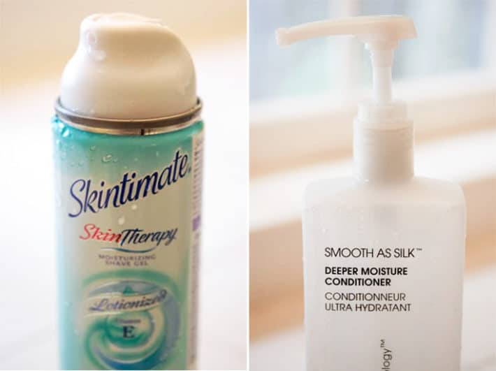 Side by side view of a blue can of shaving cream and a white pump bottle of Smooth as Silk conditioner.
