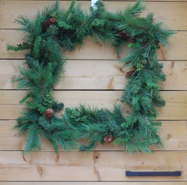 Square Christmas Wreath Made From Plumbing Supplies The
