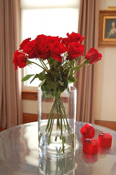 A dozen red roses in a clear cylinder vase looking neat and tidy because the stems are pulled together with a string.