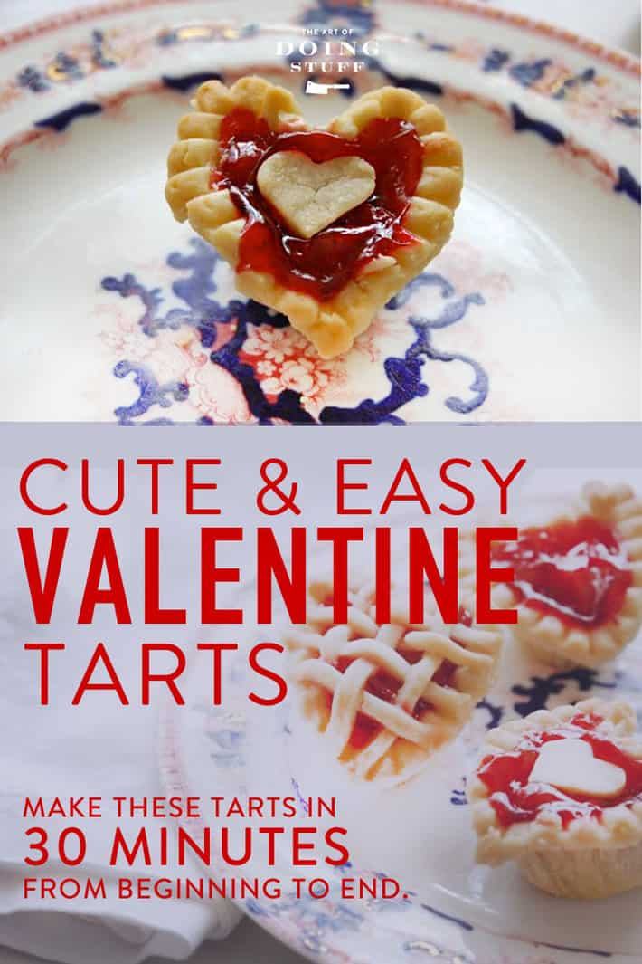 Cute & Easy Valentine Cherry tarts.  Bite size morsels that you can bang out on a weeknight leaving lots of time for other Valentine's activities.  Like binge watching television.