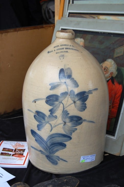 I don't know if you know this but any crock or jug with painting or lettering on it is expensive.  How expensive? This one was $1,300.  I'd need 6 so clearly this was out of my price range.  I maybe could have pulled off 5, but not 6.