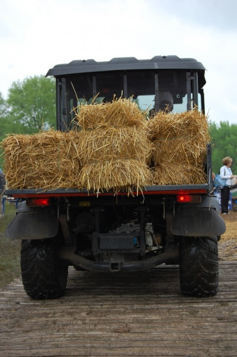 Nope.  Not for sale.  An actual old truck filled with straw to cover up the mud everywhere.
