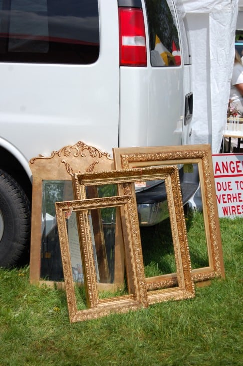 For years I had old gold frames hanging on the brick wall in my backyard. Don't try this trick with wood or plaster frames. They'll rot and fall apart. If you want to place gold frames outside in the garden go for the plastic ones.