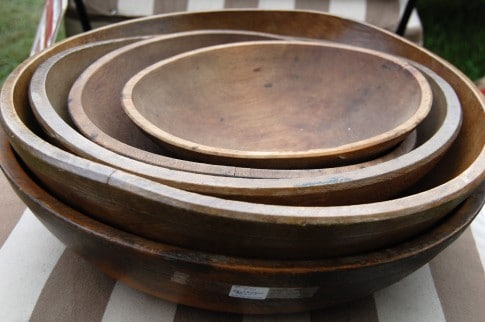 Some more reasonably priced wood doughbowls. Start at around $65. If you're thinking about buying a dough bowl like this try not to buy one that has a finish on it. Dough bowls were used for food and were never coated with any sort of finish. They should be natural wood that feels smooth to the touch after years of use. If the bowl has been shellacked or finished with anything else, it isn't in its original condition.