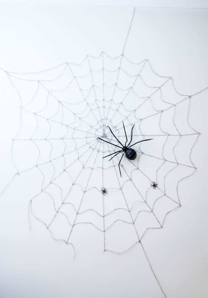 Massive Halloween spider web on white wall with huge spider.