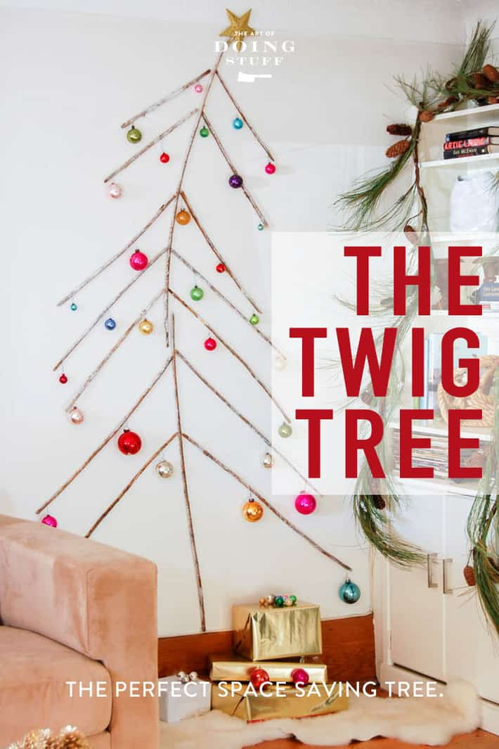 No space for a Christmas tree but you reallyyyyyy want one? Do my twig wall tree! One part Dr. Seuss, one part Charlie brown. In other words, perfect. :)