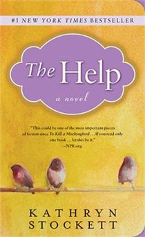 Cover of The Help written by Kathryn Stockett with a yellow background and illustration of small birds on a twig.