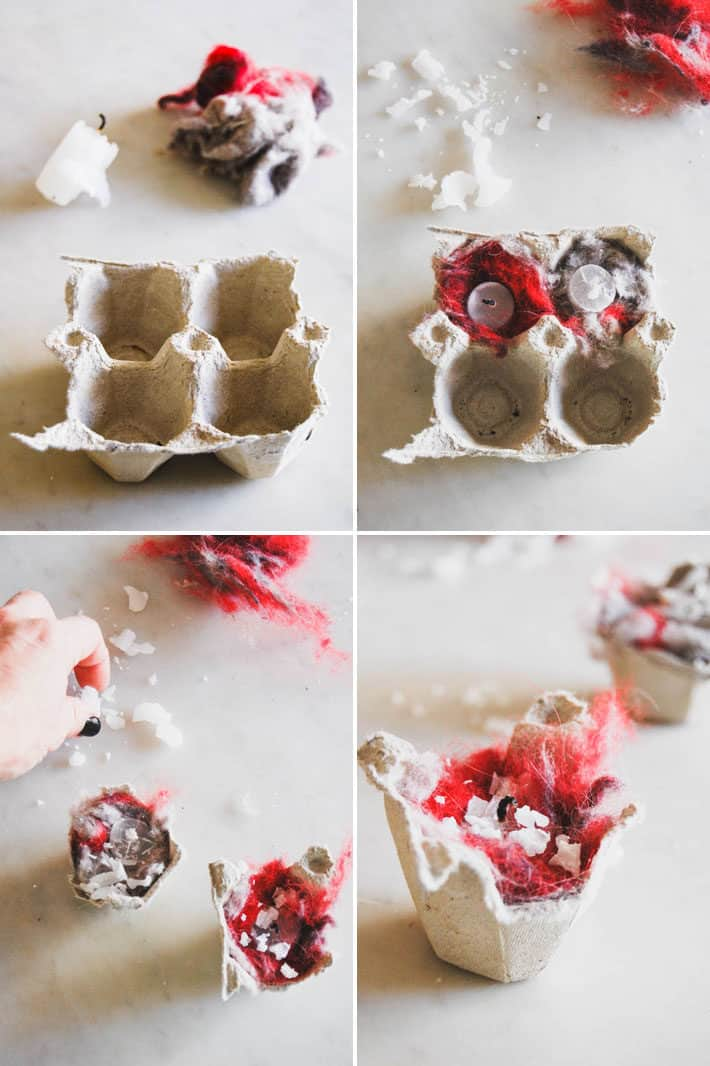 4 photo collage of the steps to making easy homemade fire starters with an egg carton, lint and a candle stub..