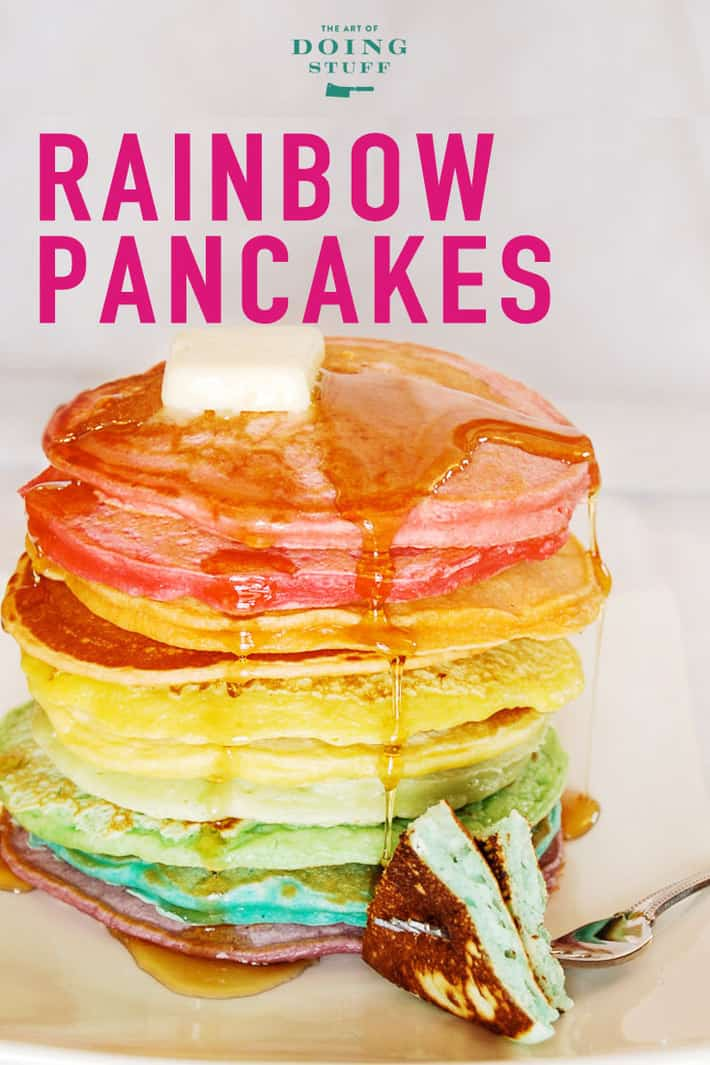 Rainbow pancakes seem like the most Mardi Gras of all the Fat Tuesday pancakes.  Looking for just a good, classic pancake recipe for Shrove Tuesday?  Yup.  That\'s here too. :)