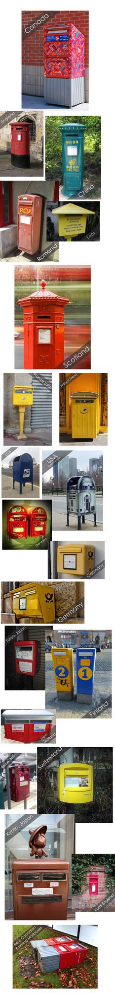 22 mailboxes from around the world, showcasing  their different shapes and colours.