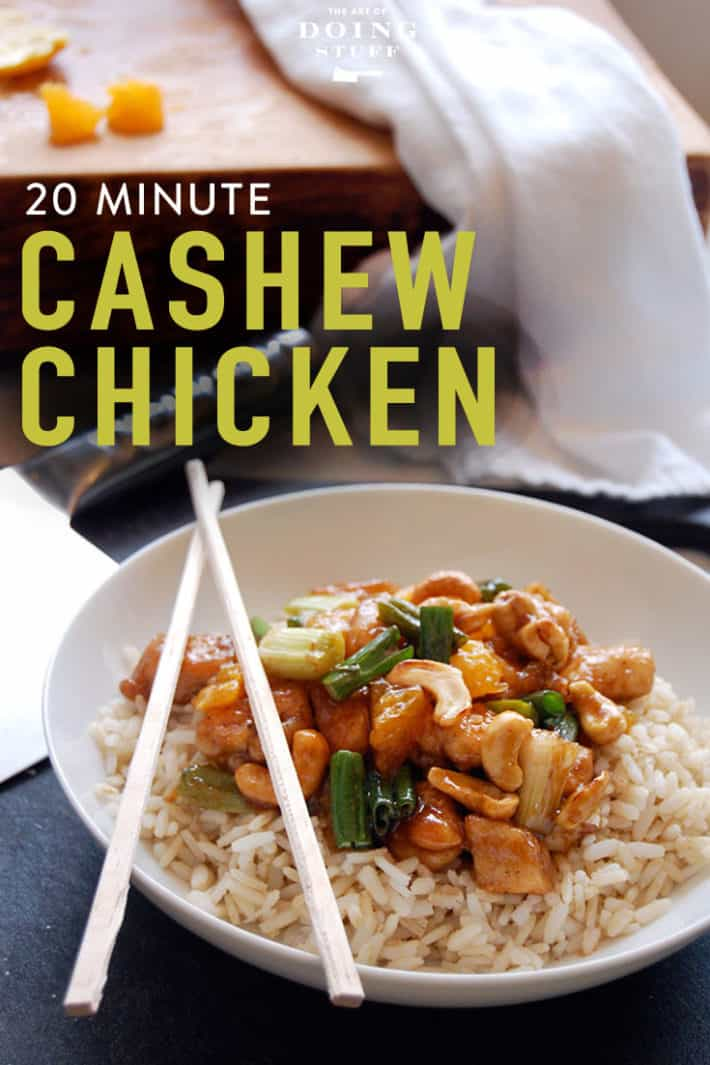 20 minute cashew chicken.  Congratulations, you know what you're making for dinner tonight!  Get your ingredient list now.