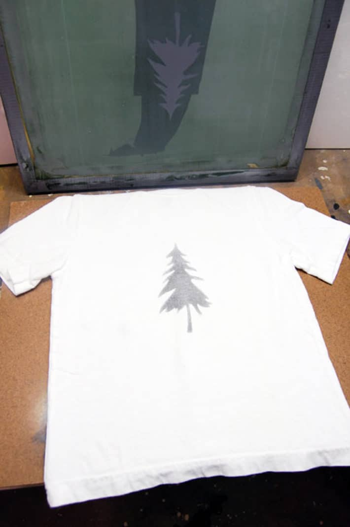Newly home screen printed t shirt with tree.