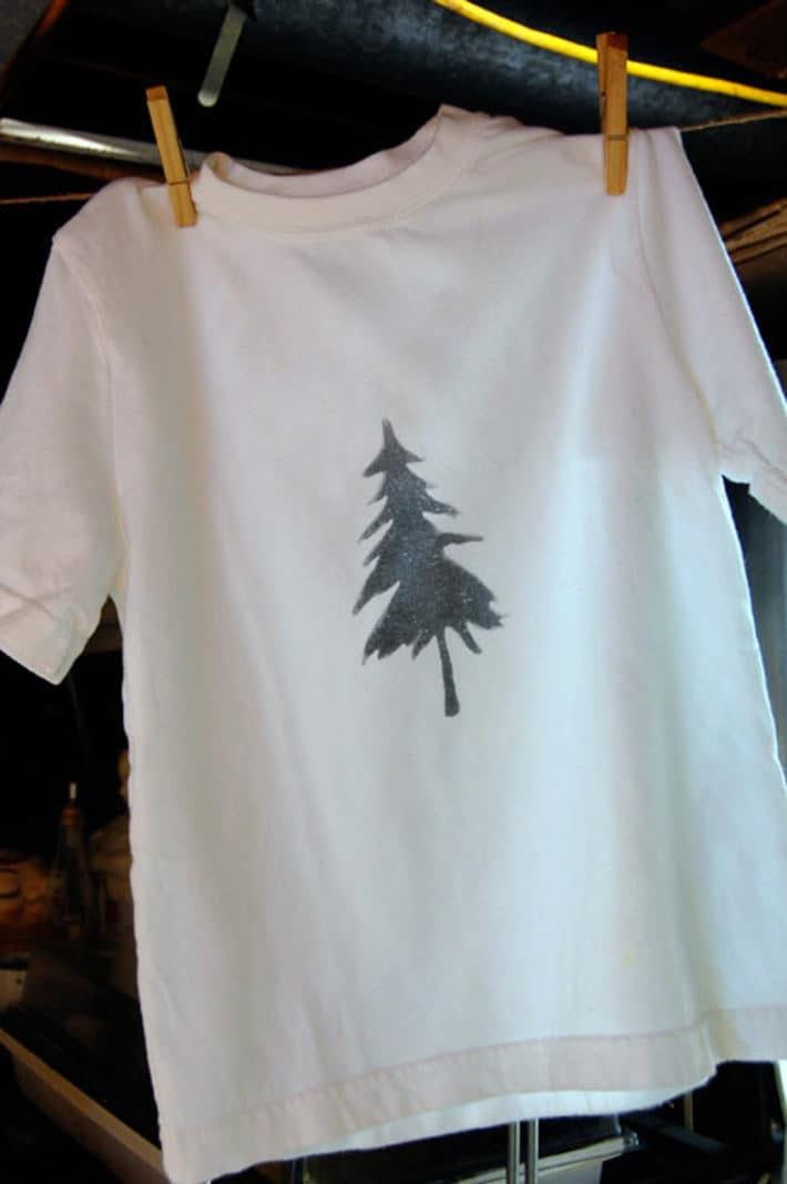 Newly screen printed t shirt hanging to dry.