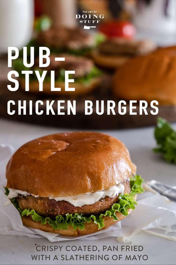 Pub-Style Ground Chicken Burgers.