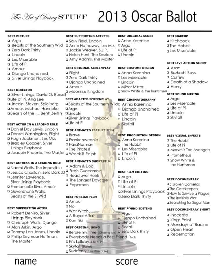 photo about Oscar Ballots Printable called Printable 2013 Oscar Ballot Oscar Choices contest! The Artwork