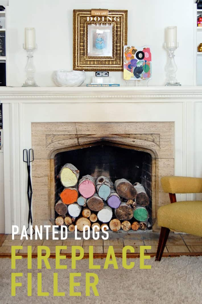 A fun fireplace filler that you can make in minutes. Painted logs .. the easy DIY.