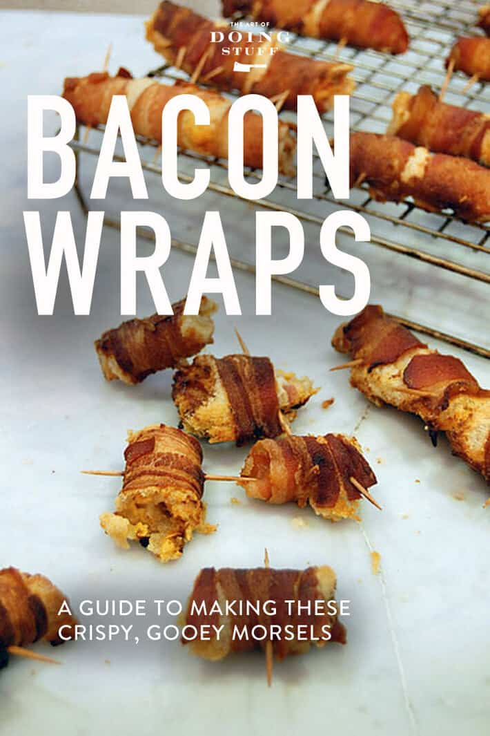 Crispy, smoky bacon wrapped around bread cheese and other gooey, good stuff!