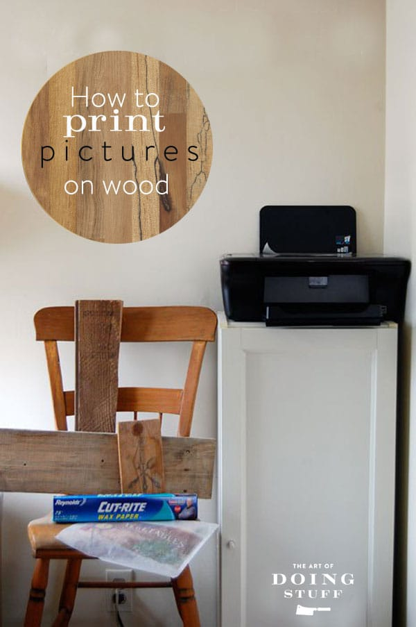 Printer on cabinet for printing on wood with just waxed paper.