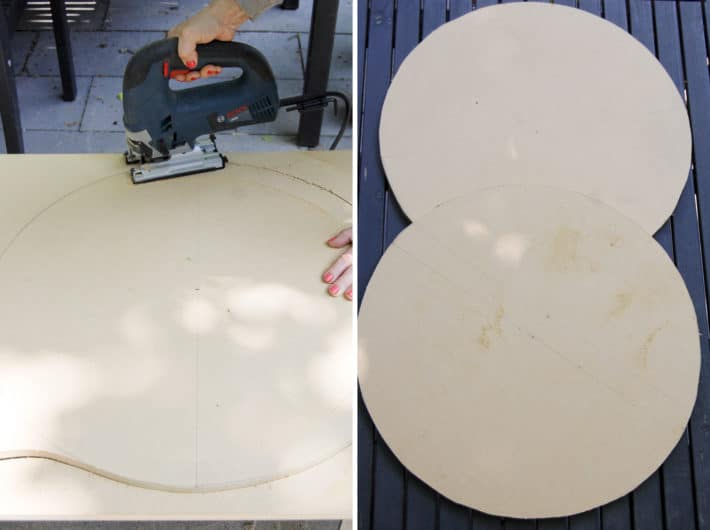Bosch jigsaw cutting through MDF to create circles.