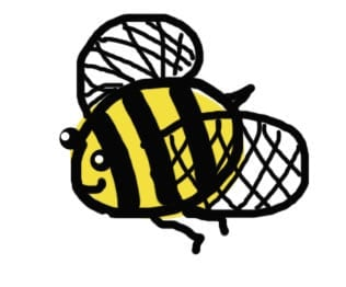 Childish hand drawing of a happy flying bee.