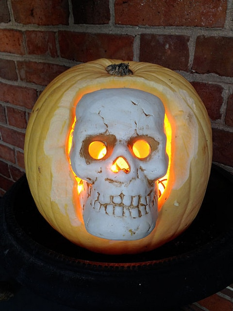 Clay Skull In Pumpkin