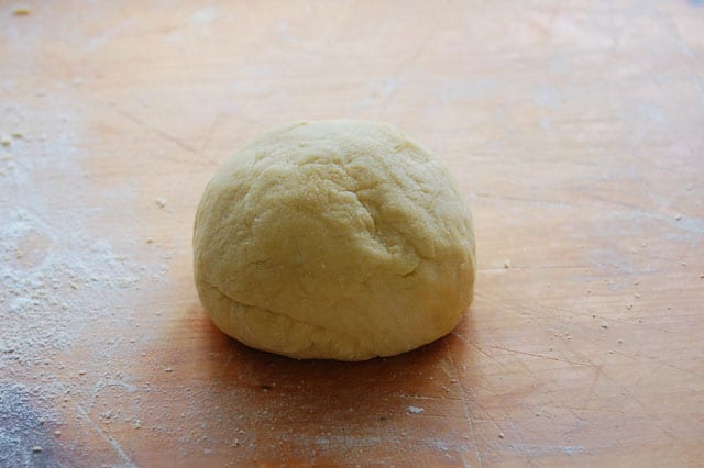 Ball of homemade pasta dough, just kneaded.