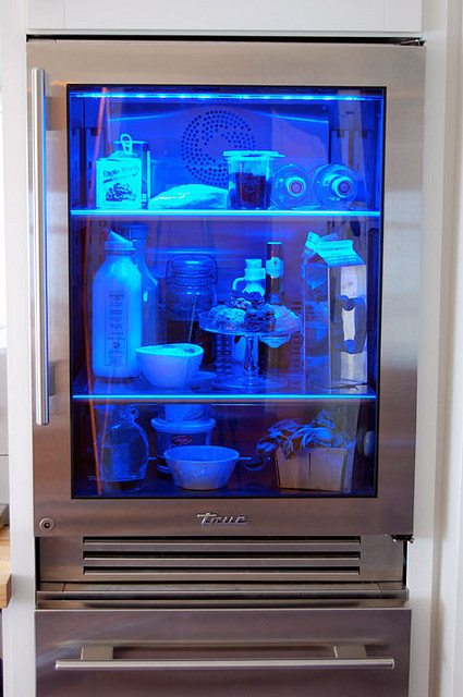 True Glass Front Fridge Blue Light