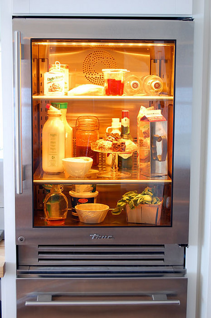 True Glass Front Fridge Gold Light