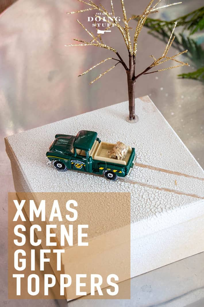 Say good bye to the bow and helloooooo to this idea. Top your presents with little holiday scenes this year. Spray snow, tiny trees and Matchbox cars. Click through for way more holiday scene gift topper ideas. :) #christmaswrapping #holidaycrafts