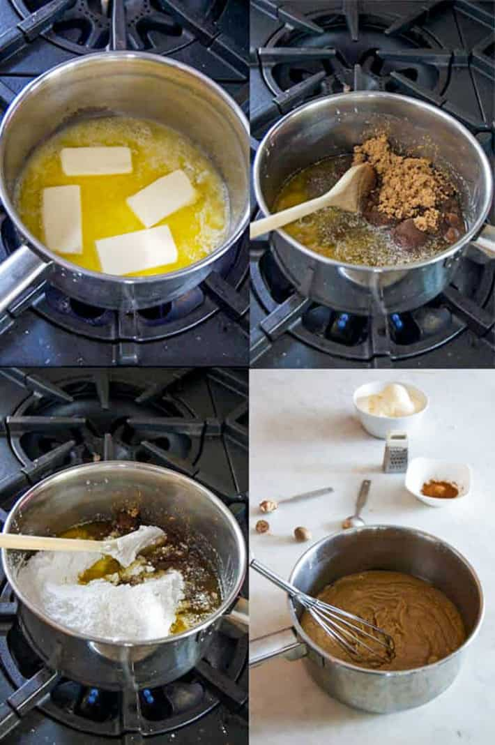 A grid style photo showing the four steps of melting butter, integrating sugars and whisking to make hot buttered rum batter.