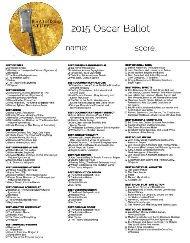 photograph about Golden Globe Ballots Printable titled Take your Downloadable Oscar Ballot listed here! The Artwork of Accomplishing