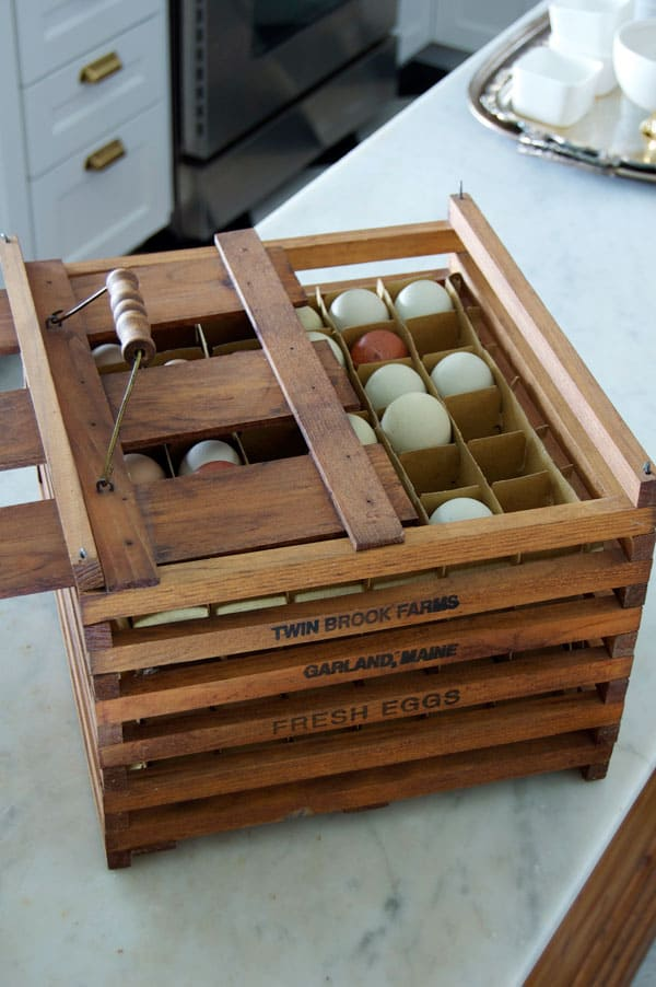 Collecting eggs ironstone what i got at christie 39 s for Wooden chicken crate plans