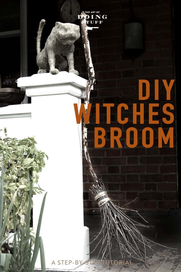 An Easy, Creepy, DIY Witches Broom for Halloween.
