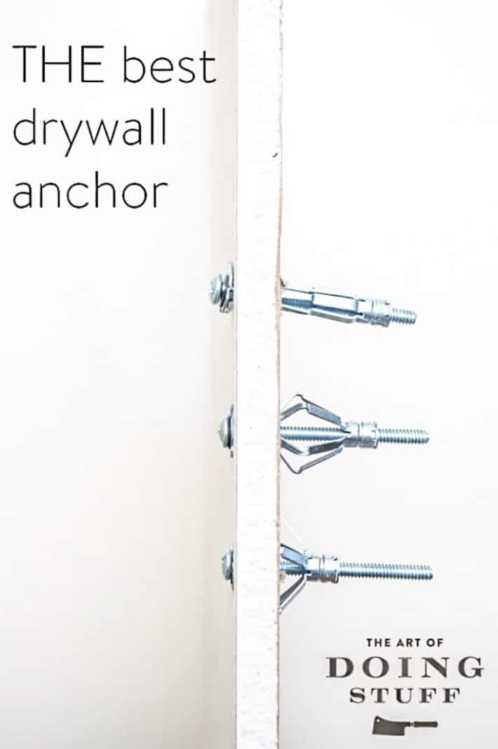 A cross section view of drywall showing the 3 stages of properly installing a hollow wall anchor.