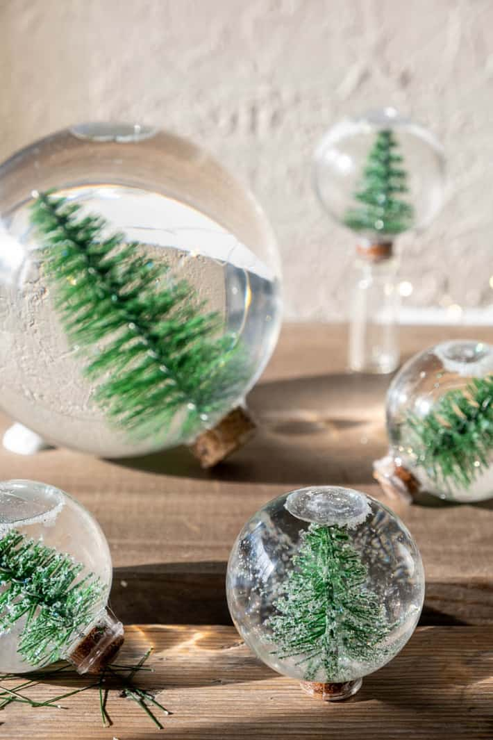 Personalised Named Snow Globe Decoration Green with Christmas Tree Top Present