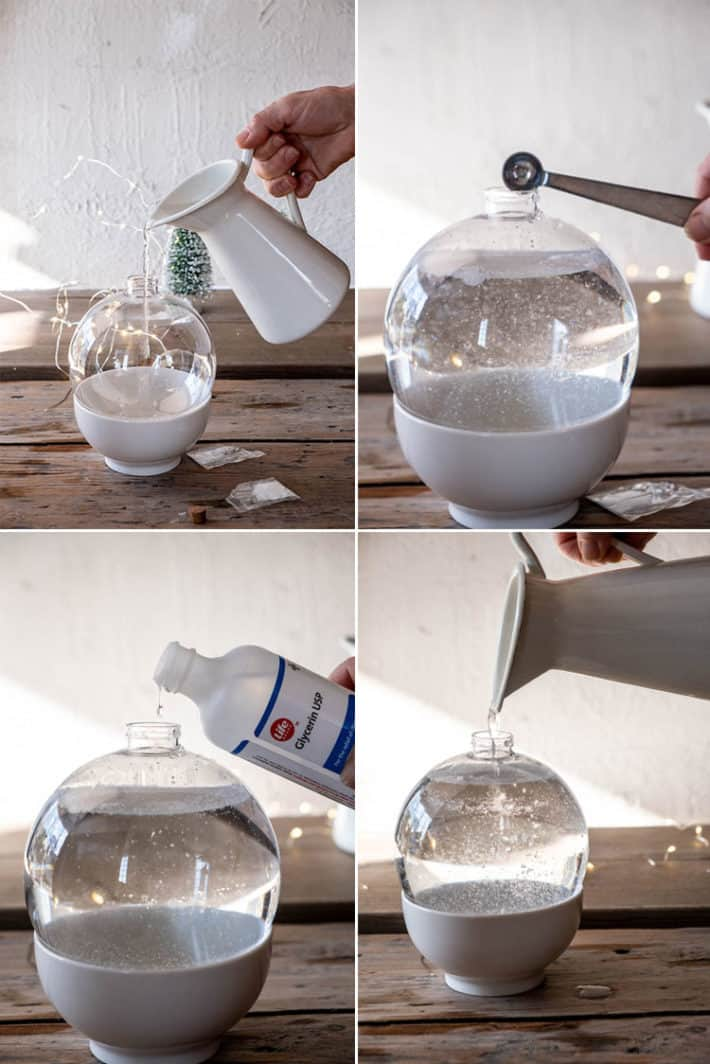 Grid showing 4 steps in making a DIY snowglobe; filling ball with water, adding sparkles, adding glycerin and topping with more water.