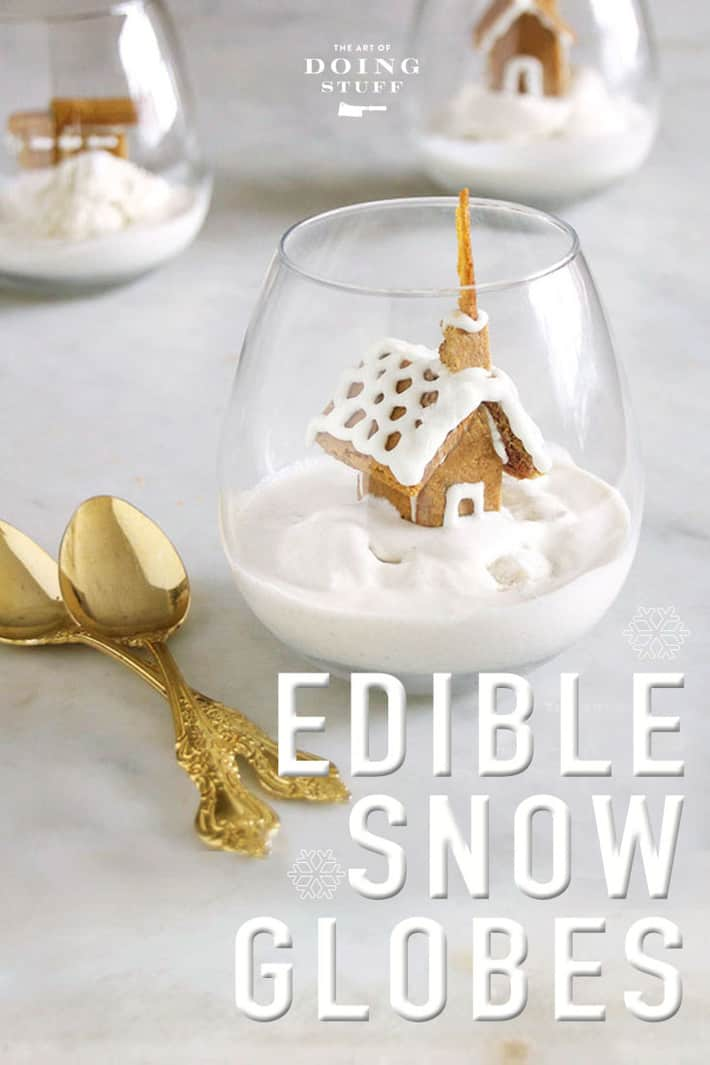 """SNOW GLOBE À LA MODE."" WITH TEENSY, TINY GINGERBREAD HOUSES."