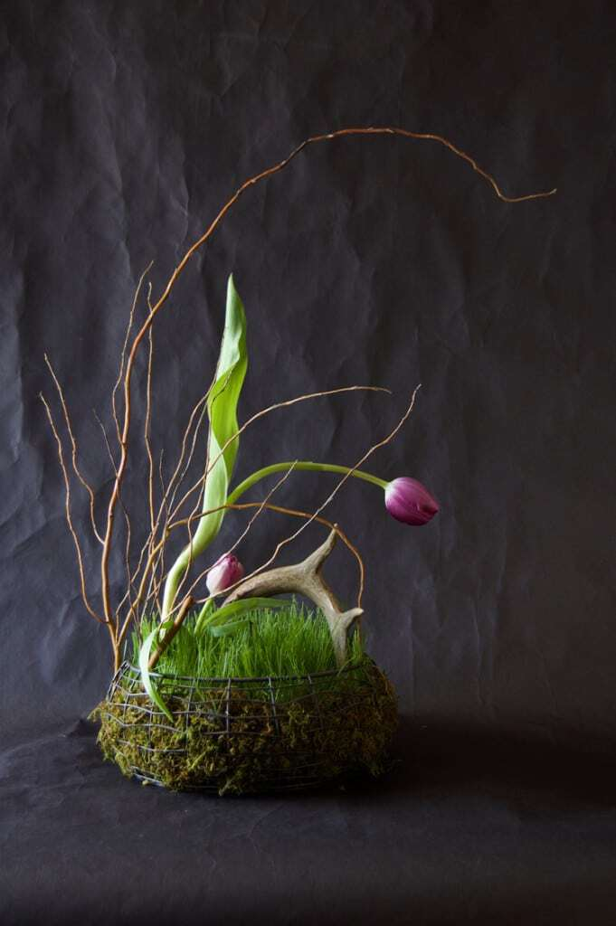 Organic real grass flower arrangement.