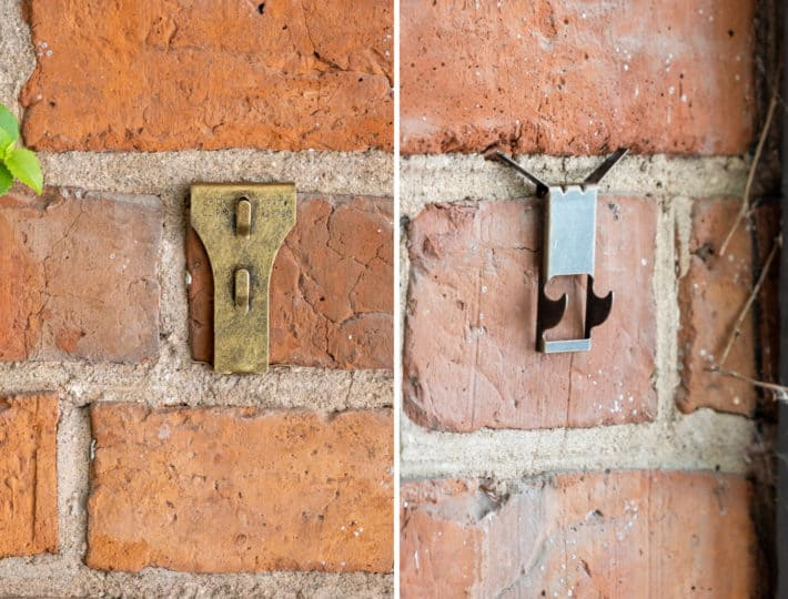 Brick clips attached to a 200 year old brick wall.
