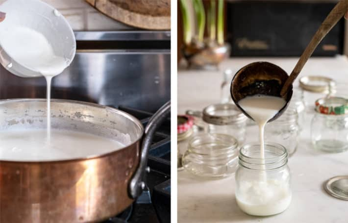 Pouring yogurt starter culture into hot milk in copper pot and then ladeling it into jars.