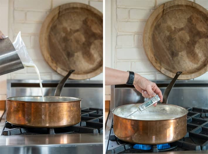 Pouring 1% milk into a copper pot on the stove and testing the temperature for making yogurt.