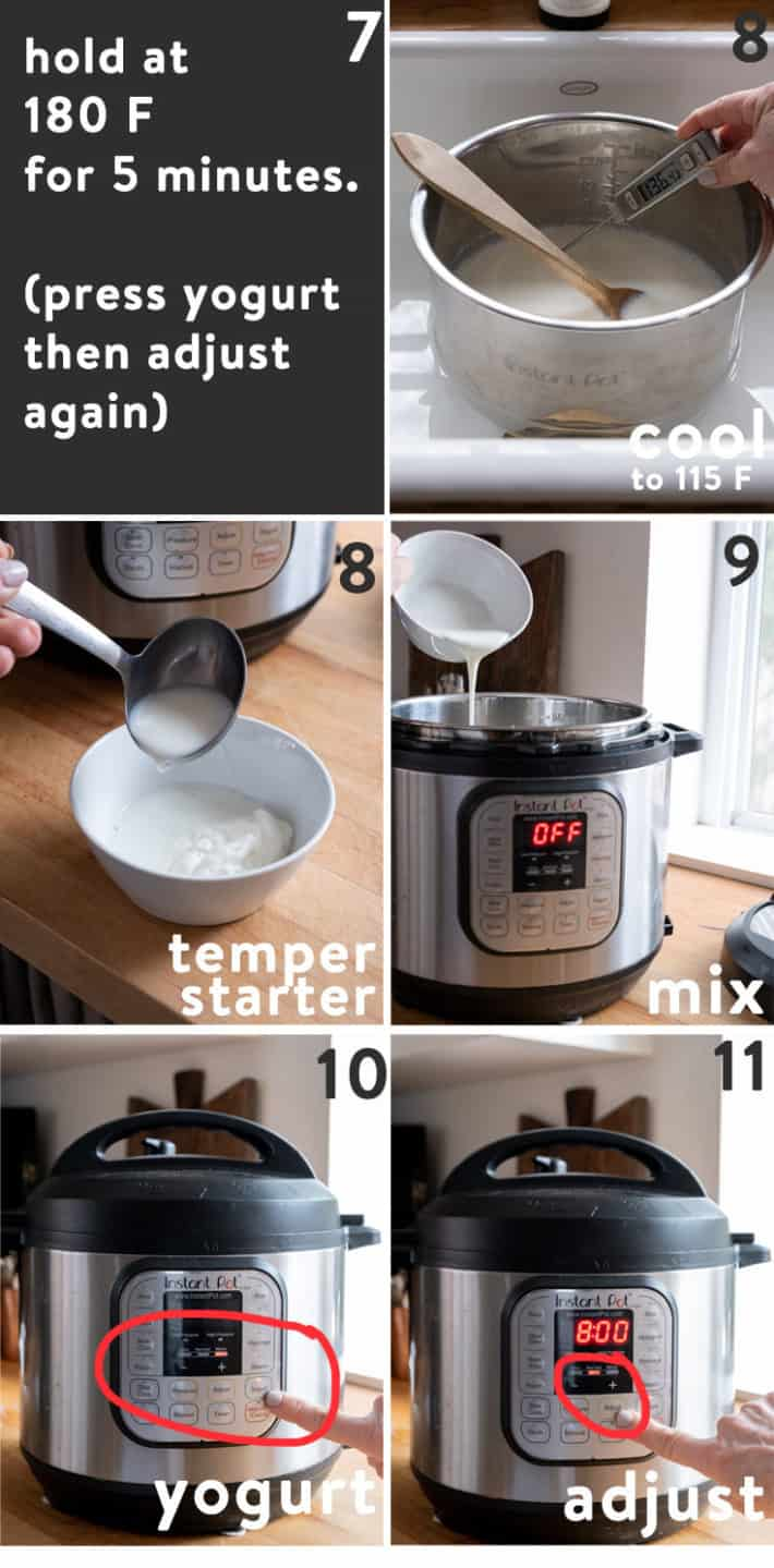 Steps 7-11 of making yogurt in the Instant Pot.