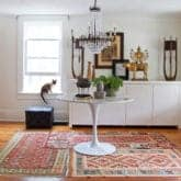 LAYERING PATTERNED RUGS.