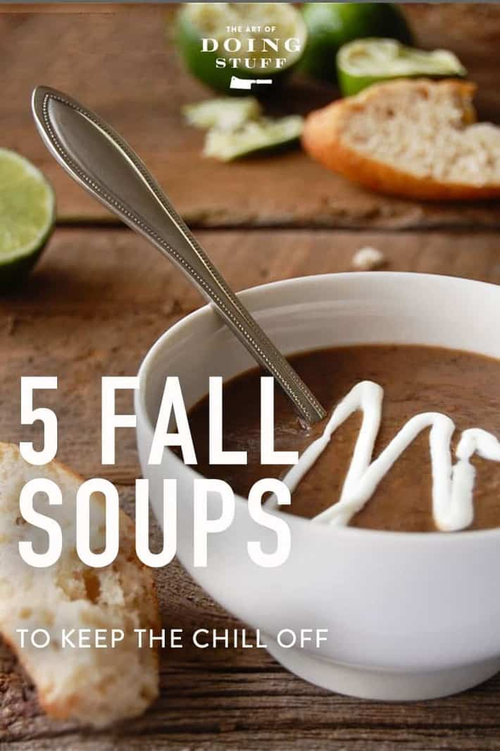 5 fall soups to keep the chill off. Black bean, Carrot Ginger, Firebroth and more ...
