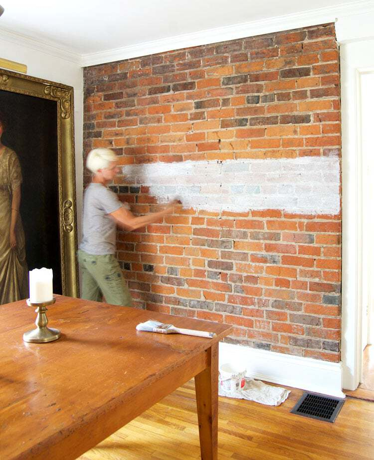 How to paint a brick wall.